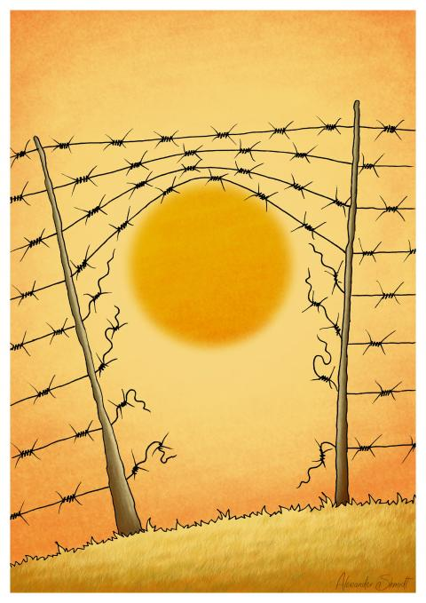 The rising sun breaks (or melts) the barbed wire.