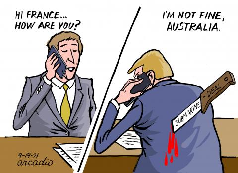 Conflict between France and Australia.