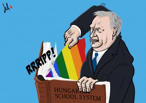 cartoon by del rosso on hungary and lgbtq