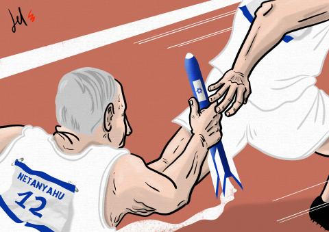 cartoon by emanuele del rosso about Netanyahu