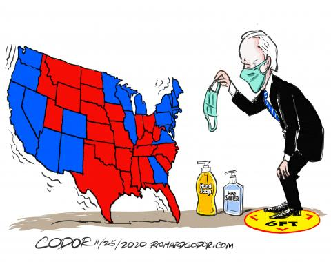 President Elect Biden persuades a divided USA to protect itslef from the virus.