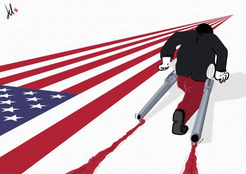 cartoon by emanuele del rosso about USA and guns