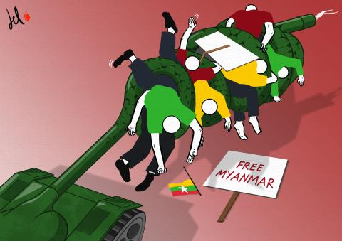 cartoon by emanuele del rosso about myanmar