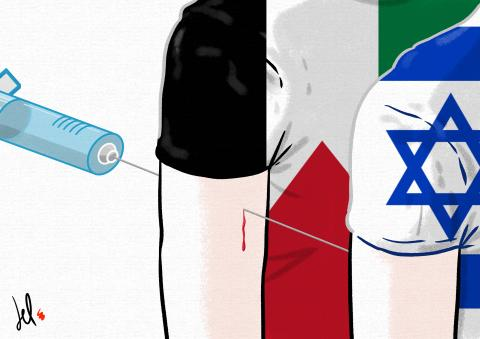 cartoon by emanuele del rosso about coronavirus vaccines in israel