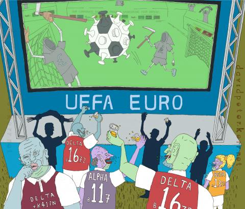 Cartoon depicting UEFA fan zone pandemic super spreading event
