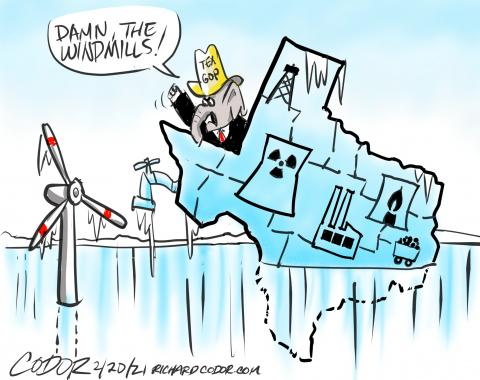 Texas gas, coal, oil and nuclear grid power fails to provide heat, electricty and water during  deadly deep freeze. Republicans blame frozen windmills