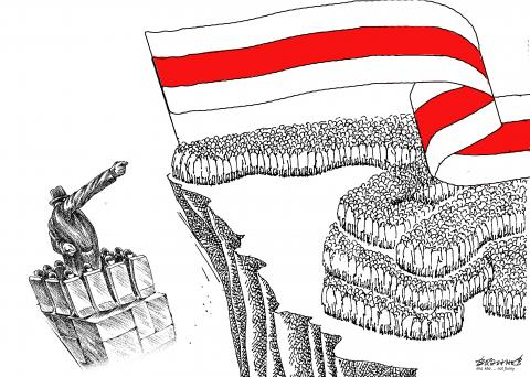 The flag of the opposition over the country against the persistent President