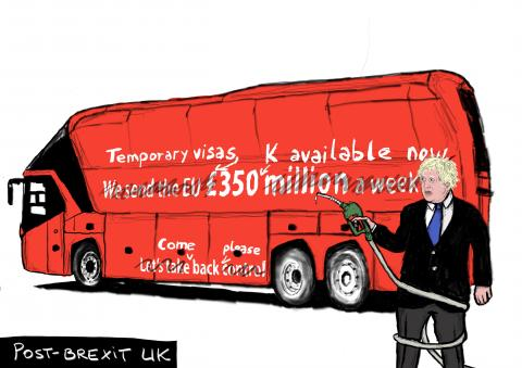 'Benefits' of Brexit finally become visible, with visible shortages in stores, now lack of drivers to deliver fuel to stations. A bitter sweet moment for many who voted remain. At the centre of this cartoon is the bus that Boris used to first advertise for Brexit by spreading what has now been proven to be a lie.