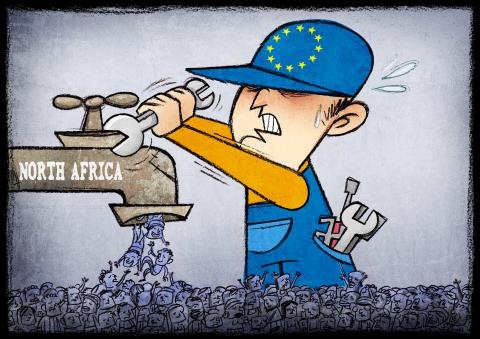 Cartoon about migration to Europe