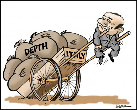 Cartoon about Berlusconi and debt