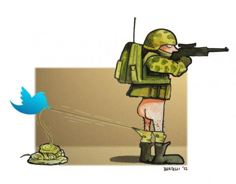 Cartoon about peace and social media