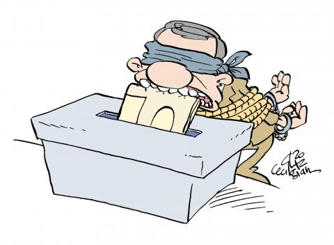 Cartoon about elections in Iran
