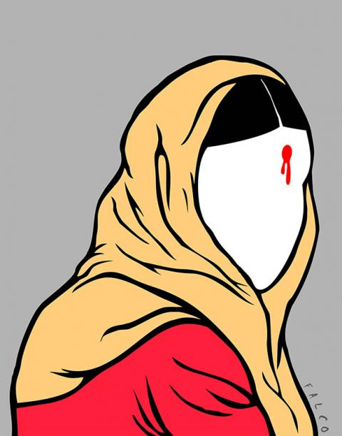 Cartoon about violence against women in India