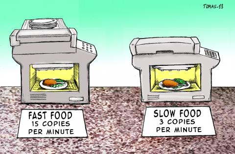 Cartoon about printing food