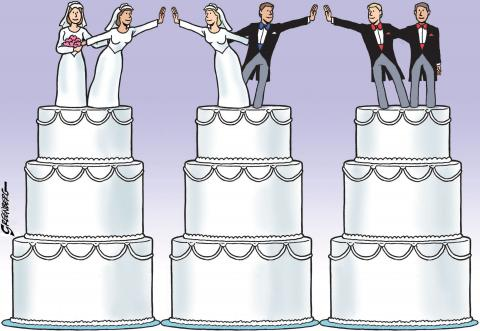 Cartoon about the legalization of same-sex marriage