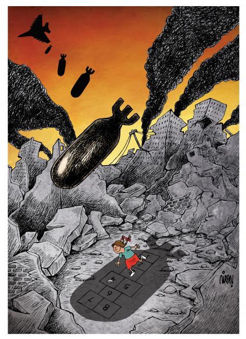 Cartoon about children and war