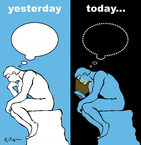 Cartoon about smartphone addiction
