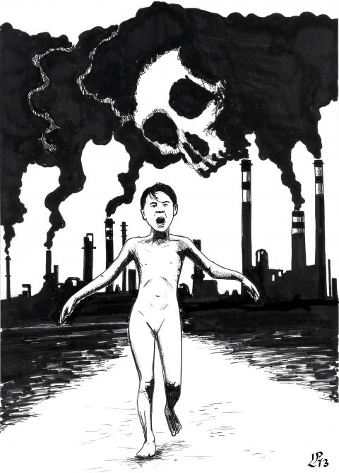 Cartoon about pollution