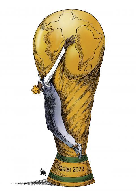 Cartoon about worker exploitation in Qatar