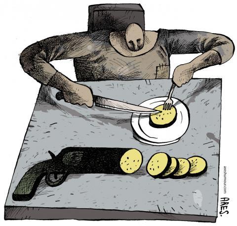 Cartoon about guns and hunger