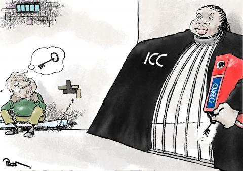 Cartoon about Gbagbo and the ICC