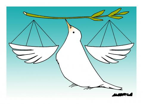 Cartoon about peace and justice