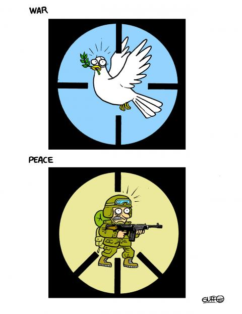 Cartoon about war and peace