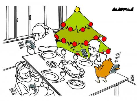 Cartoon about spending Christmas together