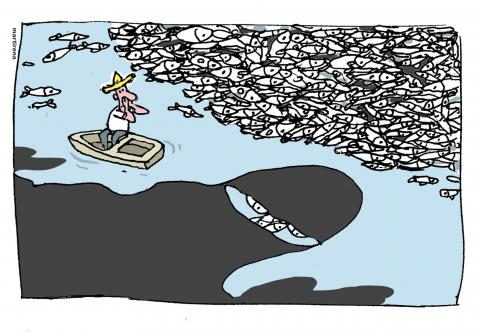 Cartoon about pollution of our oceans