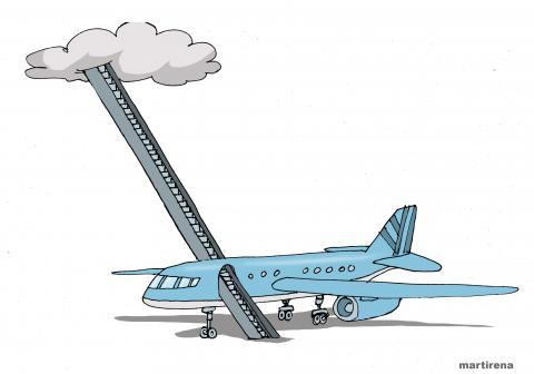 Cartoon about a plane crash