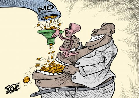 Cartoon about aid and corruption