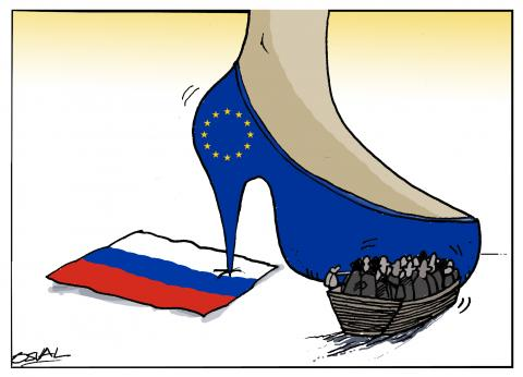 Cartoon about migrants in Europe