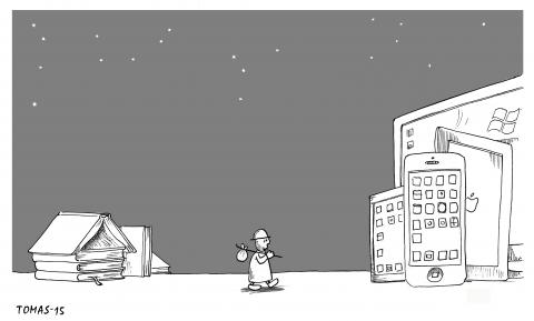 Cartoon about humans and techology