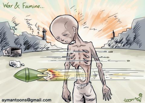 Cartoon about hunger and war