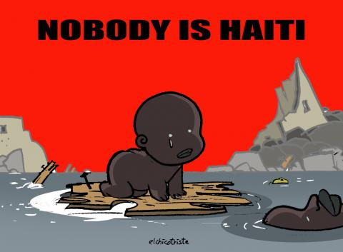 Cartoon about a natural disaster in Haiti