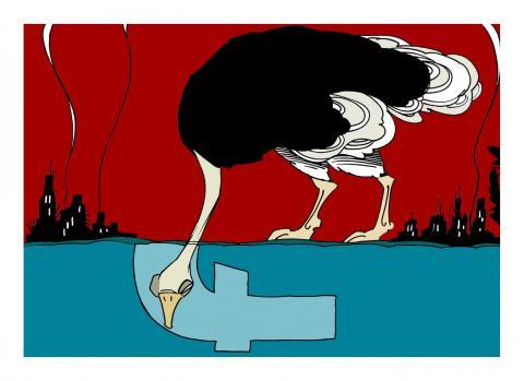 Cartoon about war and social media