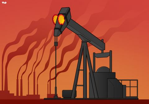 Cartoon about Shell and climate change