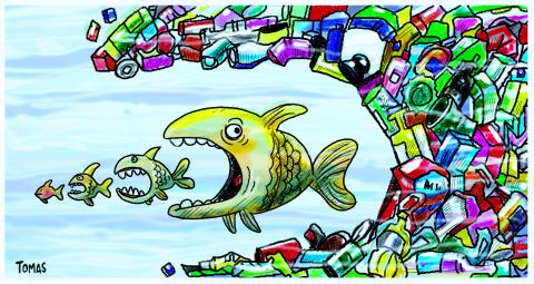 Cartoon about plastic in the oceans