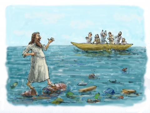 Cartoon about plastic in our oceans