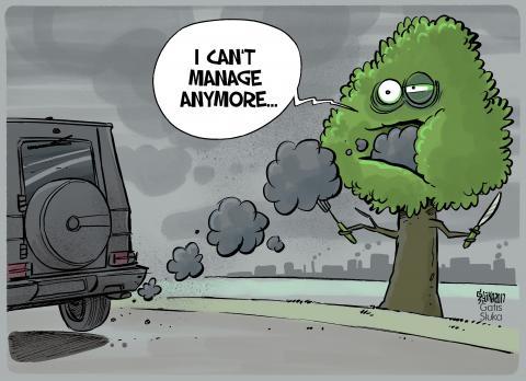 Cartoon about air pollution
