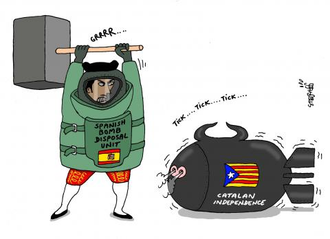 Cartoon about Spain and Catalonia