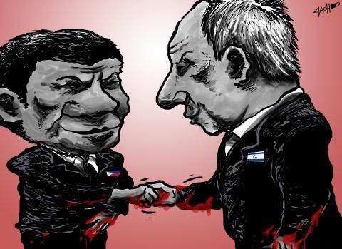 Cartoon about Putin and Duterte