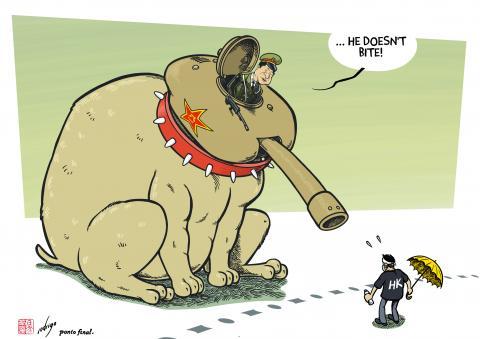 Cartoon about Hong Kong and China