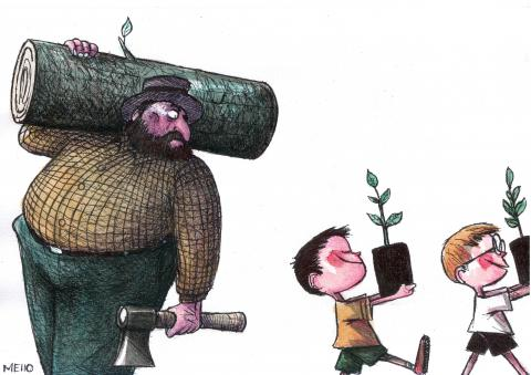 cartoon about deforestation