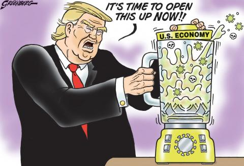 Cartoon about Trump and the coronavirus