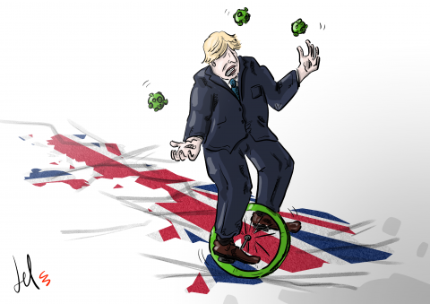 cartoon by emanuele del rosso about UK and coronavirus