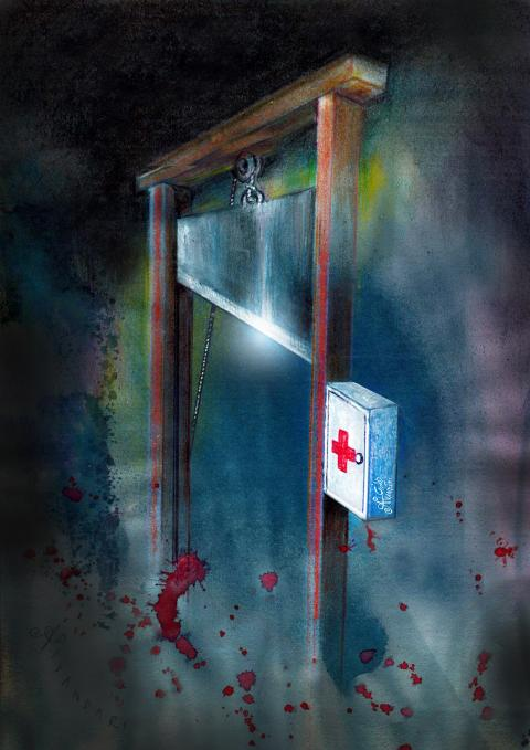 a first aid kit next to a Guillotine. cartoon by Ali Divandari, All Rights Reserved.