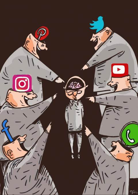 Cartoon about solcial media