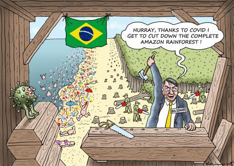 Cartoon about the coronavirus in Brazil