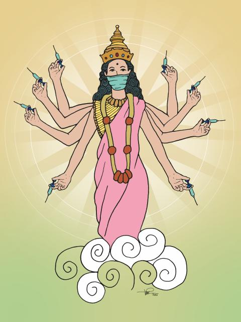 Hopeful that the goddess durga will carry only vaccine and protection instead of weapons and distress.
